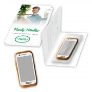 Gingerbread smartphone with advertising applicator & printed flyer