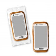 Gingerbread smartphone with sugar paper trailer, 12cm - Flowpack packed