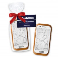 Gingerbread smartphone with sugar paper trailer, 12cm and advertising card - In cellophane bag