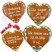 Customizable gingerbread heart as an invitation 16cm