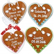 Individual gingerbread heart as wedding invitation set Lucas