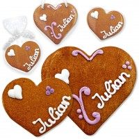 Place card gingerbread heart Julian 8cm or 12cm