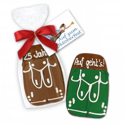 Lederhose gingerbread, 11cm - with ribbon and printed card