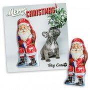 Personalized advertising card with chocolate Santa Claus