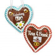 Personalize Gingerbread Heart with Text and Photo, 16cm