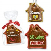 Gingerbread house flat, personalized 12cm