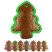 Gingerbread pinetree rounded blank with border, 20 cm