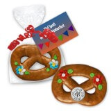 Mini gingerbread pretzel - 8cm, with advertising card - optional with logo
