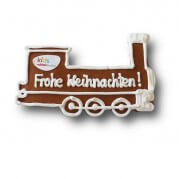 Gingerbread steam locomotive individual, 24cm - optional with logo