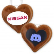 Gingerbread heart individual with foil-logo, 12cm
