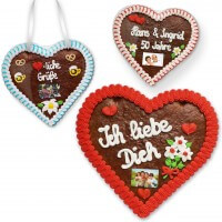Heartshaped gingerbread with text and photo 24cm