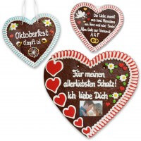Huge 50cm gingerbread heart with individual text and photo
