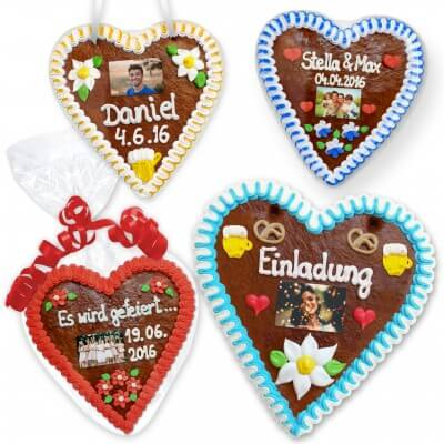 Gingerbread heart 21cm with individual text and photo