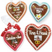 Personalized gingerbread heart with wish text and photo 16cm
