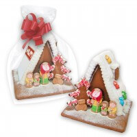 Individual gingerbread witch house with logo - large