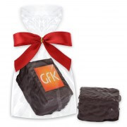 Gingerbread confectionery cube with logo - single packed