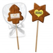 Gingerbread on a stick Star or tree, 7cm with logo
