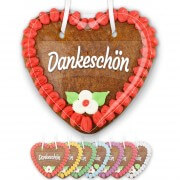 Gingerbread heart 14cm with text - sticker Dankeschön