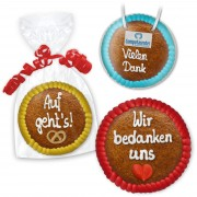 Gingerbread Circle 15cm - with lettering and optional with logo