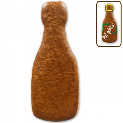 Gingerbread champagne bottle for self-decorating, 24cm