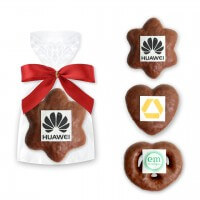 Heart - Prezel - Star gingerbread with Logo - single packed