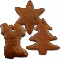 gingerbred set, 5 pieces of star, tree and shoe