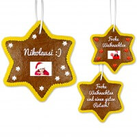 Gingerbread star 24cm with text and optional photo