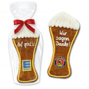Gingerbread in white beer form 22cm - In cellophane with company logo