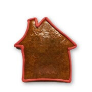 Gingerbread house blank with red border, 15cm