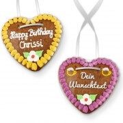 Customize gingerbread heart 14cm with text