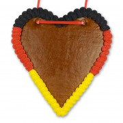 Germany gingerbread heart, blank with border in black-red-yellow, 21 cm
