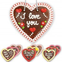 gingerbread heart - 23cm - different slogans