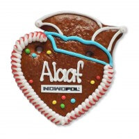 Gingerbread Heart with Carnival Hat, 12cm