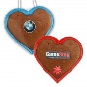 Gingerbread hearts Economy Quality with line border and sugar logo, 12cm