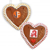 Individual Economy Quality gingerbread heart with wave border and edible logo, 12cm