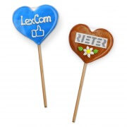 Gingerbread Heart Lollies - optionally with logo or text 8cm