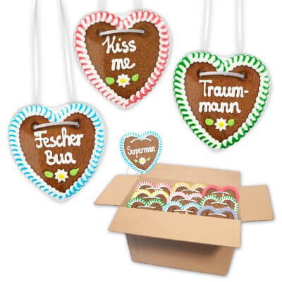 Gingerbread hearts mixed in a carton - 10cm - Sayings for Men