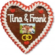 Gingerbread Heart with Photo, 16cm