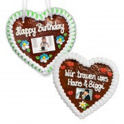 Gingerbread Heart with Photo, 18cm