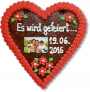 Gingerbread Heart with Photo, 21cm