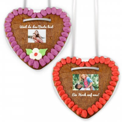 Gingerbread heart with text and photo on premium foil sticker, 14cm