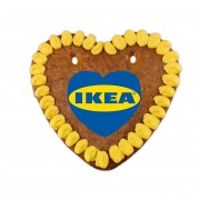 Gingerbread hearts with logo from sugar paper, 14cm