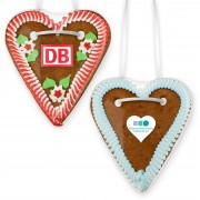 Gingerbread heart with logo printed on foil sticker, 20cm