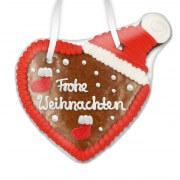 Frohe Weihnachten - gingerbread heart with hat, 16 cm