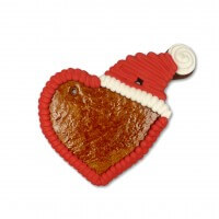 Gingerbreadheart with santa hat blank with border, 12 cm