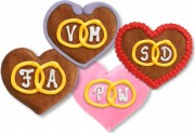 Gingerbread Hearts with rings and initials, 8cm