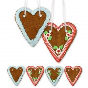 Gingerbread hearts blank economy quality, 20cm - various colors
