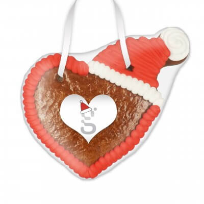 Gingerbread heart with hat 12cm - incl. label