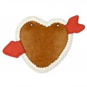 Gingerbread heart blank with arrow 22cm - border white