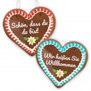 Gingerbread heart with individual foil sticker, 12cm